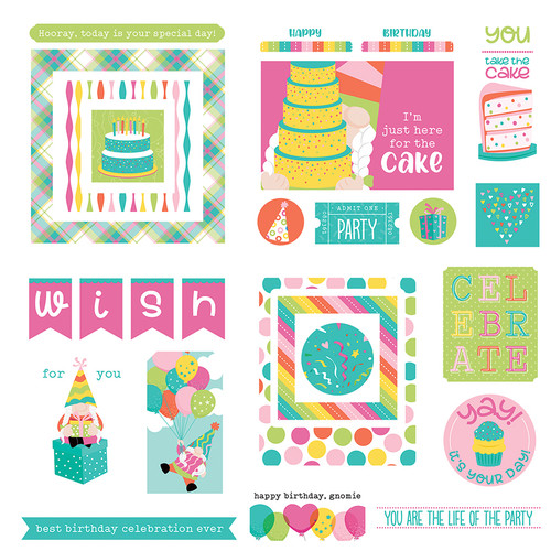 Tulla & Norbert's Birthday Collection Girl 5 x 5 Die Cut Scrapbook Embellishments by Photo Play Paper