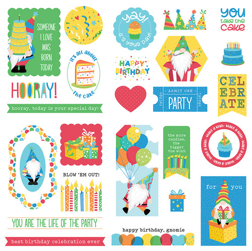 Tulla & Norbert's Birthday Collection Boy 5 x 5 Die Cut Scrapbook Embellishments by Photo Play Paper