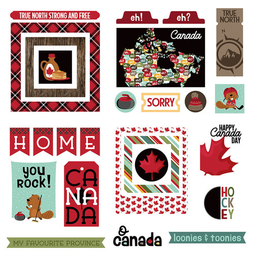O Canada 2 Collection 5 x 5 Die Cut Scrapbook Embellishments by Photo Play Paper