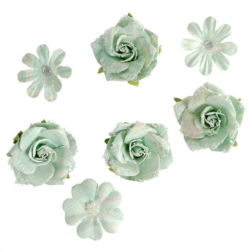 Floral Embellishments Collection Mint Marble Flowers 1.50 to 1.75 inch Blooms Scrapbook Embellishment by Darice - 12 Pieces