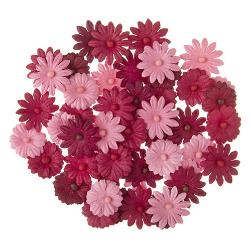 Floral Embellishments Collection Red Button Daisy .75 inch Blooms Scrapbook Embellishment by Darice - 48 Pieces