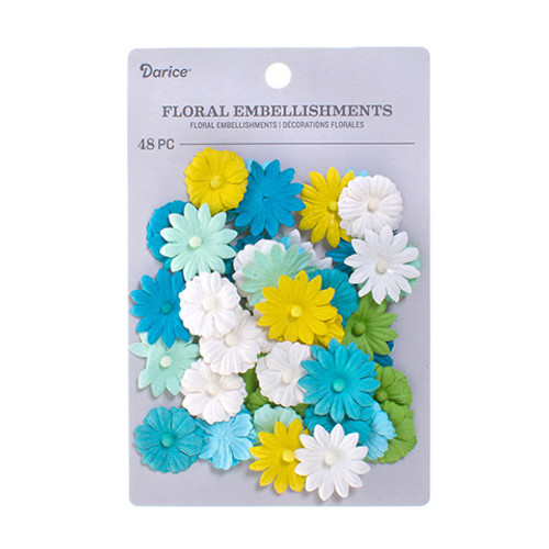 Floral Embellishments Collection Aqua Mix Button Daisy .75 inch Blooms Scrapbook Embellishment by Darice - 48 Pieces