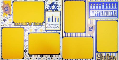 Happy Hanukkah Fully-Assembled, Premade 2 - 12 x 12 Page Scrapbook Layout by SSC Designs