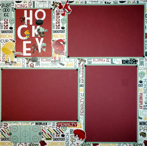 The Hockey Life Fully-Assembled, Premade 2 - 12 x 12 Page Scrapbook Layout by SSC Designs