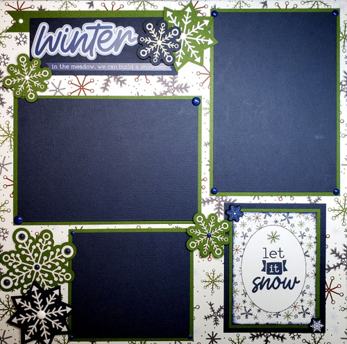 Winter Memories Layout 2 - 12 x 12 Pages: Premade, Fully-Assembled and Hand-Embellished Scrapbook Layout by SSC Designs