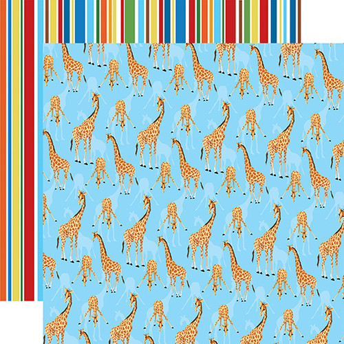 Zoo Adventure Collection Giraffes 12 x 12 Double-Sided Scrapbook Paper by Carta Bella