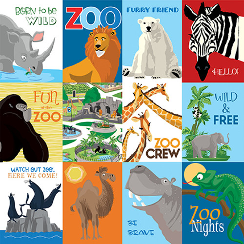 Zoo Adventure Collection 3X4 Journaling Cards 12 x 12 Double-Sided Scrapbook Paper by Carta Bella