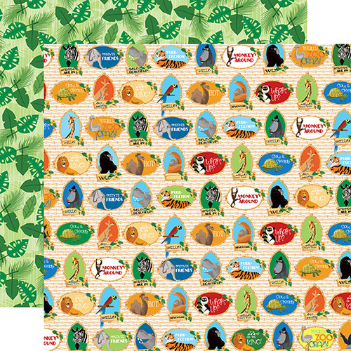 Zoo Adventure Collection Zoo Crew 12 x 12 Double-Sided Scrapbook Paper by Carta Bella