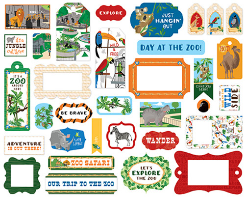Zoo Adventure Collection 5 x 5 Scrapbook Tags & Frames Die Cuts by Carta Bella