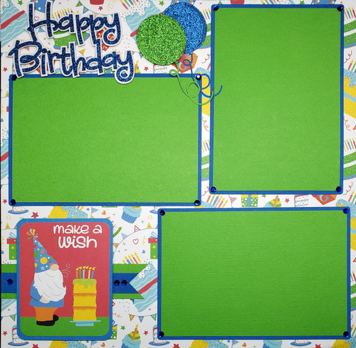 Norbert's Birthday Party Fully-Assembled, Premade 2 - 12 x 12 Page Scrapbook Layout by SSC Designs