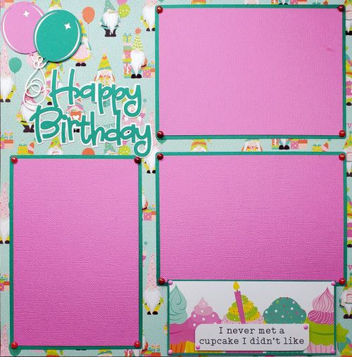 Tulla's Birthday Party Fully-Assembled, Premade 2 - 12 x 12 Page Scrapbook Layout by SSC Designs