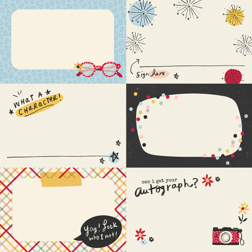 Say Cheese Main Street Collection Autograph Cards 12 x 12 Double-Sided Scrapbook Paper by Simple Stories