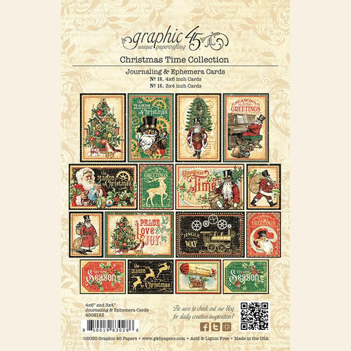 Christmas Time Collection Ephemera & Journaling Card Scrapbook Embellishments by Graphic 45 - 32 Pieces