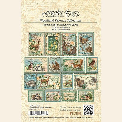 Woodland Friends Collection Ephemera & Journaling Card Scrapbook Embellishments by Graphic 45 - 32 Pieces