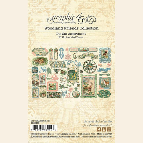 Woodland Friends Collection Double-Sided Die Cut Scrapbook Embellishments by Graphic 45 - Assorted Pieces