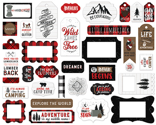 Let's Lumberjack Collection 5 x 5 Scrapbook Frames & Tags Die Cuts by Echo Park Paper