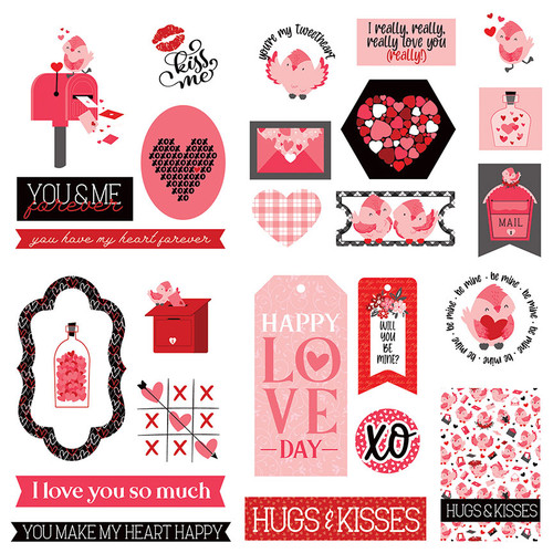 Love Letters Collection 5 x 5 Die Cut Scrapbook Embellishments by Photo Play Paper