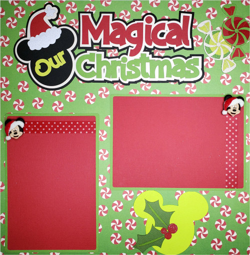 Disneyana Our Magical Christmas Pre-Made Embellished Two-Page 12 x 12 Scrapbook Layout by SSC Designs