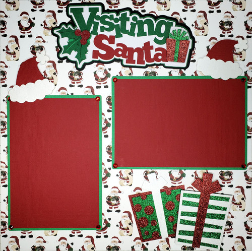 Visiting Santa Pre-Made Embellished Two-Page 12 x 12 Scrapbook Layout by SSC Designs