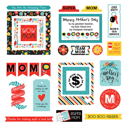 Best Mom Ever Collection Ephemera 5 x 5 Scrapbook Die Cuts by Photo Play Paper