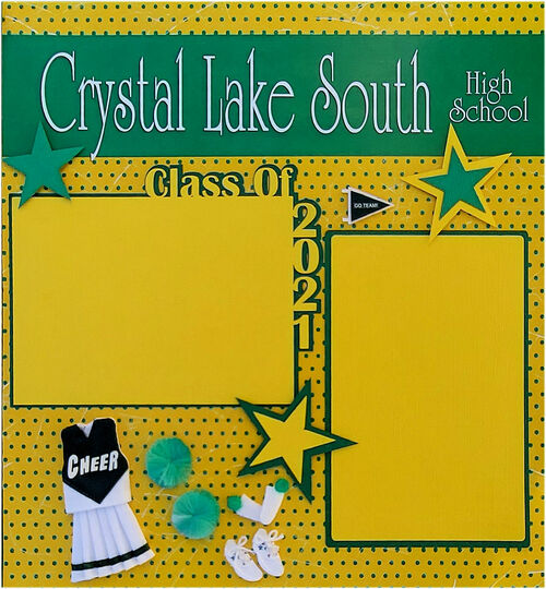 Crystal Lake South Class of 2021 Cheer Pre-Made Embellished Two-Page 12 x 12 Scrapbook Layout by SSC Designs