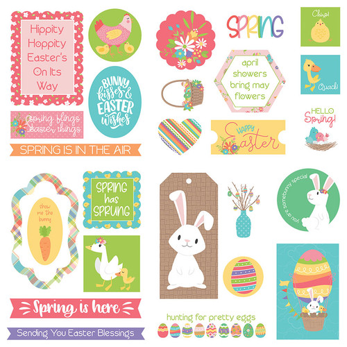 Baskets Of Bunnies Collection 5 x 5 Die Cut Scrapbook Embellishments by Photo Play Paper