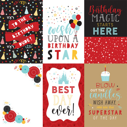 Magical Birthday Collection 4X6 Journaling Cards 12 x 12 Double-Sided Scrapbook Paper by Echo Park Paper