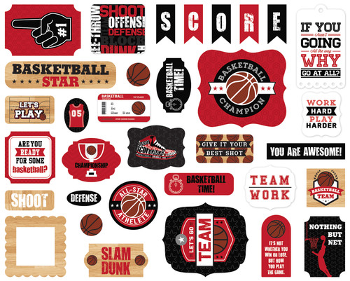 Basketball Collection 5 x 5 Scrapbook Ephemera Die Cuts by Echo Park Paper