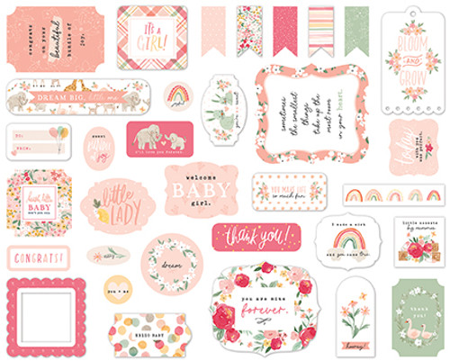 Welcome Baby Girl Collection 5 x 5 Scrapbook Ephemera Die Cuts by Echo Park Paper