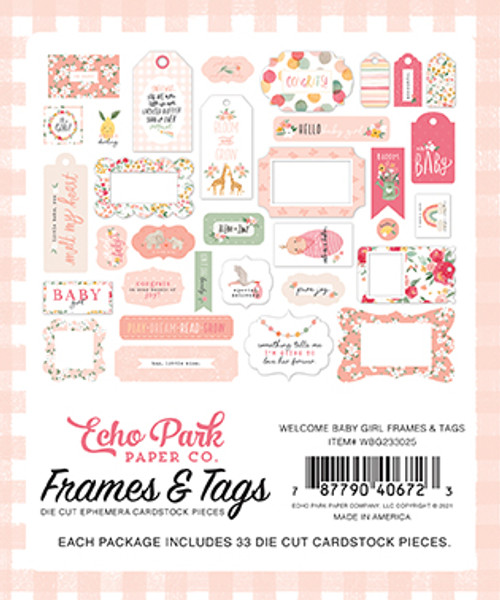 Welcome Baby Girl Collection 5 x 5 Scrapbook Tags & Frames Die Cuts by Echo Park Paper