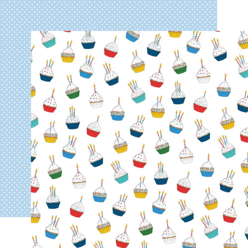 Let's Celebrate Collection Cupcake Daydream 12 x 12 Double-Sided Scrapbook Paper by Carta Bella