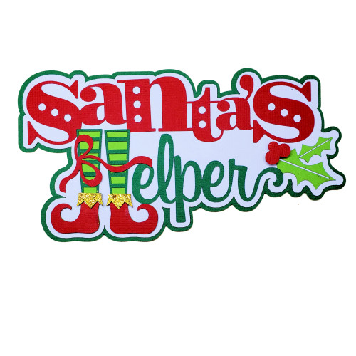 Santa's Helper 3.5 x 6 Fully-Assembled Laser Cut Scrapbook Embellishments by SSC Laser Designs