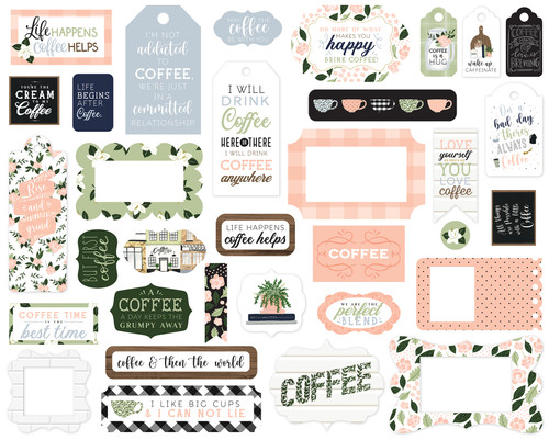 Coffee & Friends Collection 5 x 5 Scrapbook Tags & Frames Die Cuts by Echo Park Paper