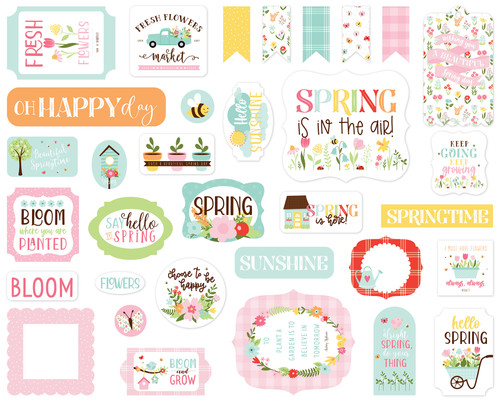 Welcome Spring Collection 5 x 5 Scrapbook Ephemera Die Cuts by Echo Park Paper