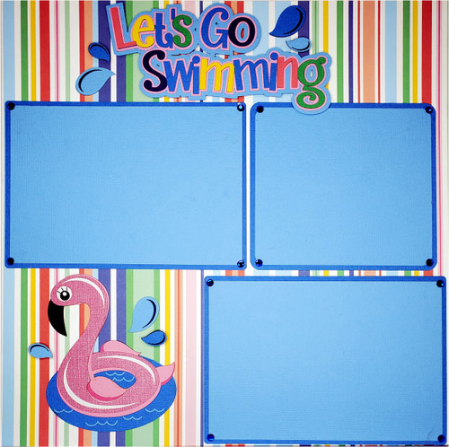 Let's Go Swimming, Pool & Flamingo Float Premade, Fully-Assembled, Embellished Two-Page 12 x 24 Scrapbook Layout by SSC Designs
