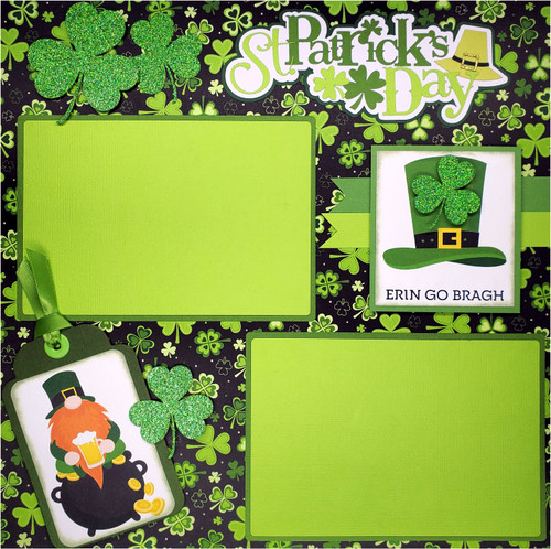 St. Patrick's Day Irish For The Day 2 - 12 x 12 Pages, Fully-Assembled & Hand-Embellished 3D Scrapbook Layout by SSC Designs