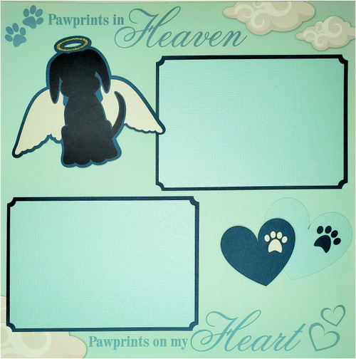 Pawprints in Heaven 2- 12 x 12 Pages, Fully-Assembled & Hand-Embellished 3D Scrapbook Layout by SSC Designs