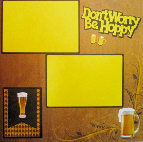 Don't Worry Be Hoppy, Craft Beer Brewing Pre-Made, Hand-Embellished 2- 12 x 12 Scrapbook Page Layouts by SSC Designs