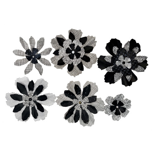 """Hand-Crafted by Mary Collection Black Boho Flowers 2"""" to 3"""" Flowers by MB Designs - Set of 6"""
