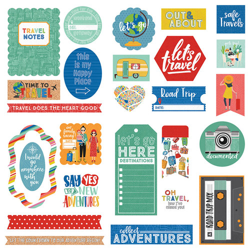 Time To Travel Collection 5 x 5 Die Cut Scrapbook Embellishments by Photo Play Paper