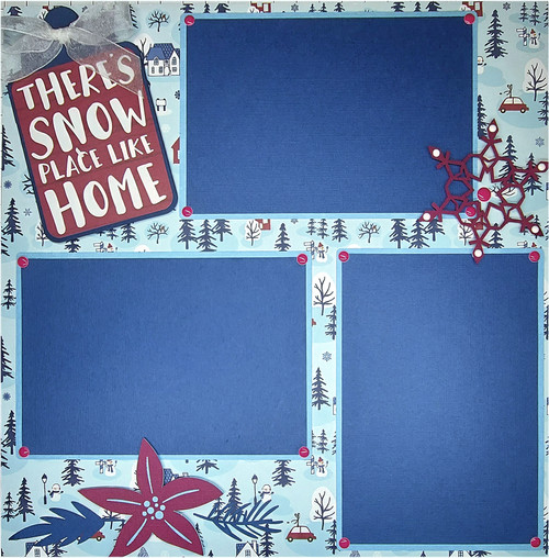There's Snow Place Like Home 2 - 12 x 12 Pages - Premade, Fully-Assembled and Hand-Embellished Scrapbook Layout by SSC Designs