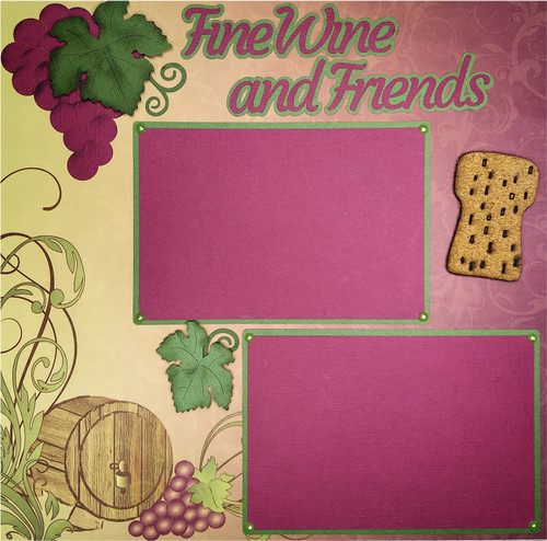Fine Wine & Friends 2 - 12 x 12 Pages - Premade, Fully-Assembled and Hand-Embellished Scrapbook Layout by SSC Designs