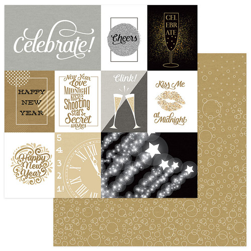 Hello New Year 2 Collection 7-Piece Collection Pack Scrapbook Page Kit by Photo Play Paper- 6 sheets 12X12 Double-Sided Scrapbook Paper plus 1 sticker sheet