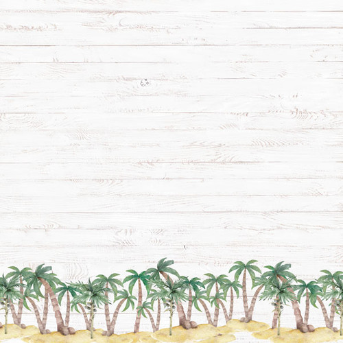 Vacay Collection Palm Border 12 x 12 Double-Sided Scrapbook Paper by Scrapbook Customs