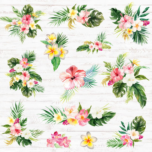 Vacay Collection Palm Tree & Flowers 12 x 12 Double-Sided Scrapbook Paper by Scrapbook Customs
