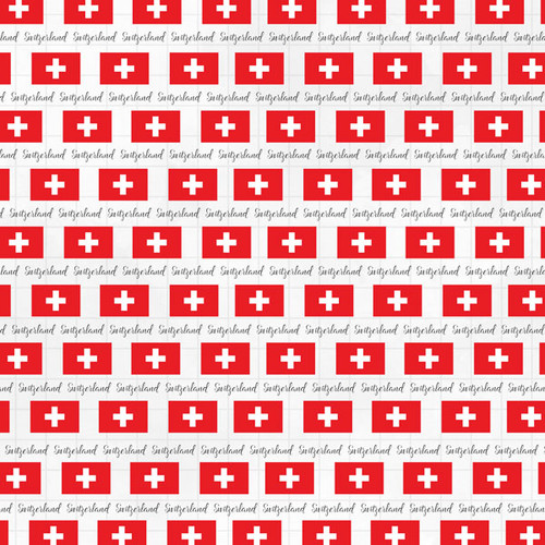 Travel Adventure Collection Switzerland Border 12 x 12 Double-Sided Scrapbook Paper by Scrapbook Customs