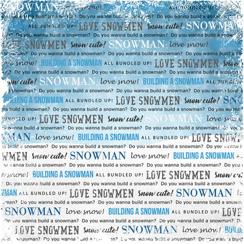 Winter Adventure Collection Snowman 12 x 12 Double-Sided Scrapbook Paper by Scrapbook Customs