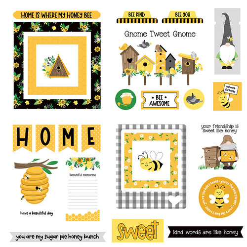 Sweet As Honey Collection 5 x 5 Die Cut Scrapbook Embellishments by Photo Play Paper