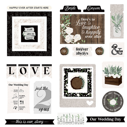 Love & Cherish Collection 5 x 5 Die Cut Scrapbook Embellishments by Photo Play Paper