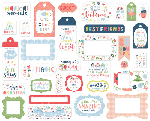 Little Dreamer Girl Collection 5 x 5 Scrapbook Frames & Tags Die Cuts by Echo Park Paper